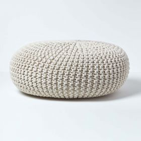 Natural Knitted Cotton Large Round Pouffe Footstool 70 x 23 cm