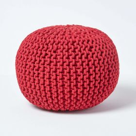 Red Round Cotton Knitted Pouffe Footstool