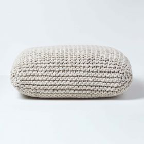 Natural Knitted Cotton Pouffe Floor Cushion Square 70 x 70 x 20 cm
