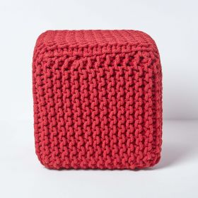 Red Cube Cotton Knitted Pouffe Footstool