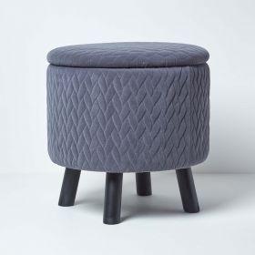 Balmoral Velvet Footstool with Storage, Grey