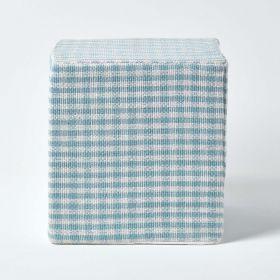 Blue Gingham Check Cotton Cube Pouffe 36 x 36 x 38 cm