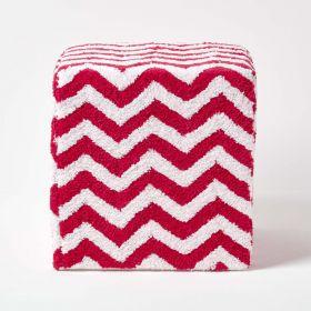 Red and White Chevron Design Cube Pouffe Tufted Cotton 36 x 36 x 38 cm