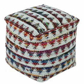 Cream Chindi Design Small Square Beanbag Style Footstool