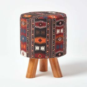 Tall Kilim Footstool with Wooden Legs