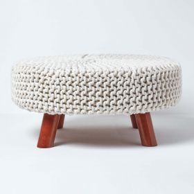 Natural Knitted Flat Footstool with Wooden Legs Large 62 x 62 x 30 cm
