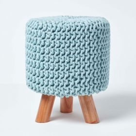 Baby Blue Tall Knitted Footstool with Wooden Legs