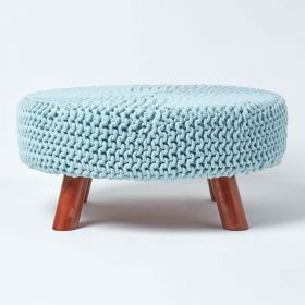 Baby Blue Knitted Footstool with Wooden Legs Large 62 x 62 x 30 cm