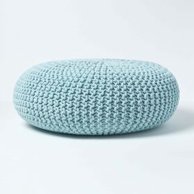 Pastel Blue Knitted Cotton Large Round Pouffe Foostool 70 x 23cm