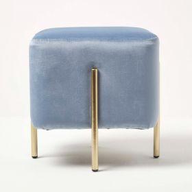 Osborne Velvet Footstool Cube with Legs, Light Blue