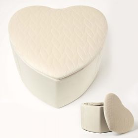 Arundel Heart-Shaped Velvet Footstool with Storage, Cream